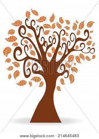 isolated cartoon autumn tree on white background
