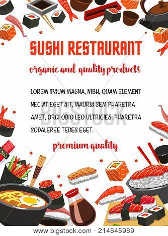 Sushi restaurant menu banner of japanese cuisine dishes. Seafood rice, fish roll and nigiri sushi with salmon, shrimp, tuna and caviar, noodle soup, chopsticks, soy sauce poster for sushi bar design
