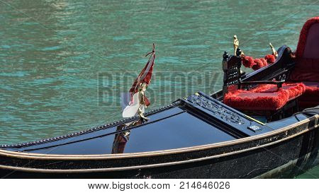 Gondola boats parking. Gondola moored, Venice, Italy. Italian gondola paddle boats docked in Venice, Veneto, Italy