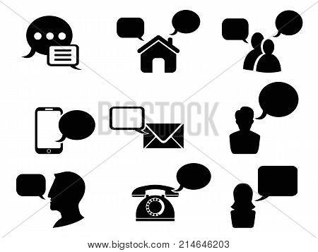 isolated black chat icons set on white background