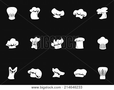 isolated chef hats icon on black background