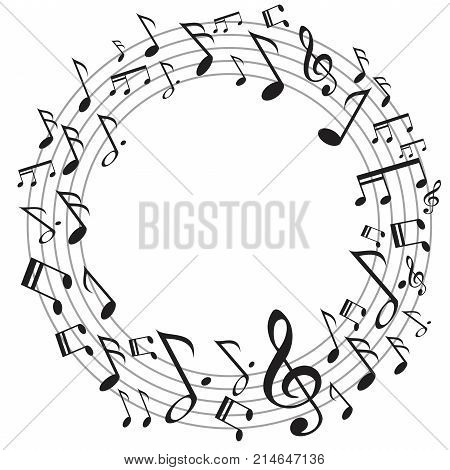 the design of circle music notes on white background