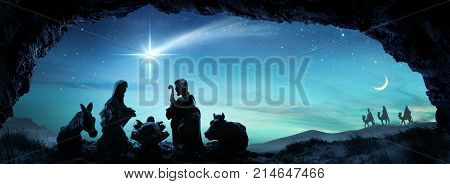 Nativity Of Jesus - Scene With The Holy Family - 3d illustration