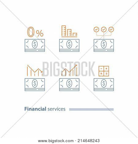 Down payment, cash loan, credit approval, income growth, investment dividends, decrease and increase graph, refinance, cost calculating, interest rate, stock market, vector line icon set, thin stroke