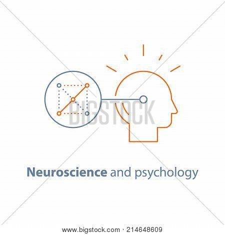Decision making logo, logic game, neurology and psychology, critical mindset, creative design thinking, solving riddle, memory mental connection pattern, brain training task, vector line icon