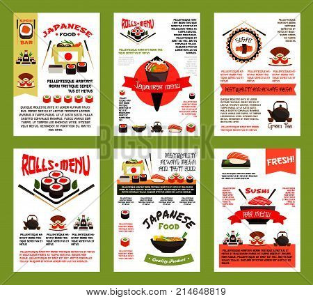 Japanese food and sushi menu banner set. Asian cuisine seafood rice, salmon fish roll, sushi with tuna, shrimp and seaweed, noodle box and ramen soup poster for japanese restaurant, sushi bar design