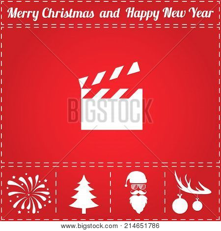 Clapper board Icon Vector. And bonus symbol for New Year - Santa Claus, Christmas Tree, Firework, Balls on deer antlers