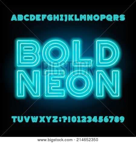 Blue neon tube alphabet font. Neon color bold letters and numbers. Stock vector typeset for your headers or any typography design.