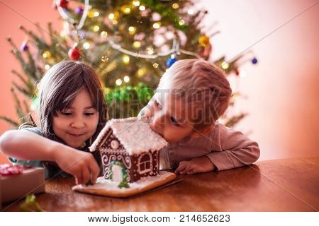 Kids with gingerbread cookie house at The Christmas time