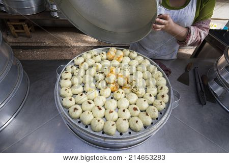 Chinese steamed buns stuffed in Dali market ,Yunnan China.