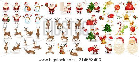 Big Christmas set. Santa Claus, reindeer, snowman, tree, bag with gifts, hat, sweets beard. Xmas decoration and elements. Photo props. Characters run, jump, sleep, have fun and get ready for holiday