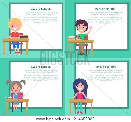 Back to school set of vector illustrations with schoolchildren sitting at the table with textbooks, boys and girls answer at lessons in classroom