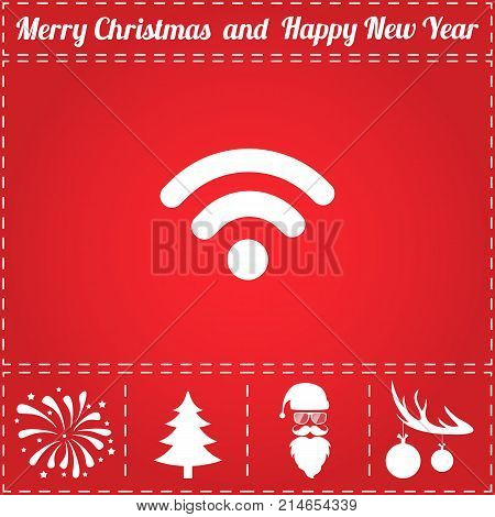 Podcast Icon Vector. And bonus symbol for New Year - Santa Claus, Christmas Tree, Firework, Balls on deer antlers