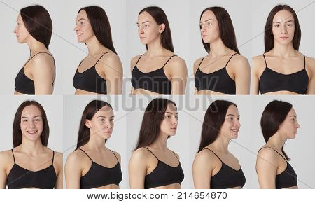 Studio light headshot female model snapshots collage