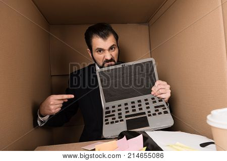 Aggressive Businessman Pointing At Blank Screen