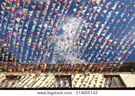 Prayer flag(Tibetan Darchor) in old town Shangri-La, Yunnan China