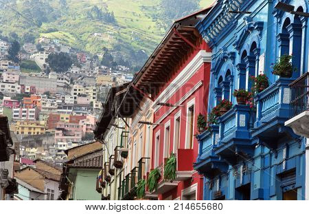 Typical colorful colonial buildings in Quito in Ecuador