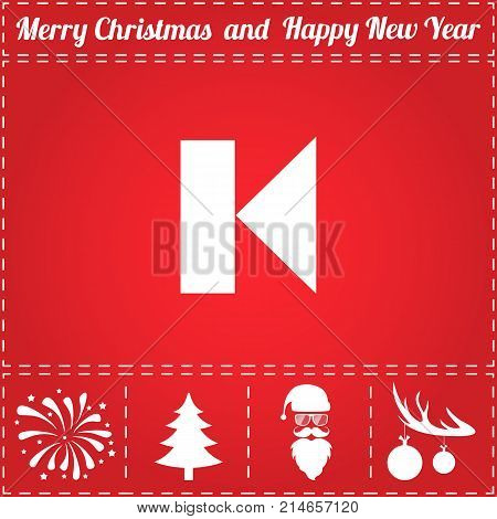 Previous Icon Vector. And bonus symbol for New Year - Santa Claus, Christmas Tree, Firework, Balls on deer antlers