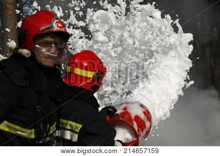 Belarus Gomel 04/06/2017 extinguishing forest fire.Belarus Gomel 04/06/2017 Firefighter extinguishes a fire..Extinguishing the fire. Fill the foam with a fire. Resolute firefighters.