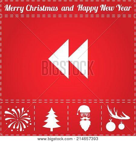 Rewinding Icon Vector. And bonus symbol for New Year - Santa Claus, Christmas Tree, Firework, Balls on deer antlers