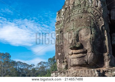 Siem Reap, Cambodia - Dec 08 2016: Bayon Temple In Angkor Thom. A Famous Historical Site(unesco Worl