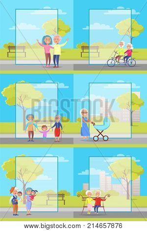 Older people outside collection of vector illustrations. Grandparents and their grandchildren spending time in park. Senior citizens riding bicycle