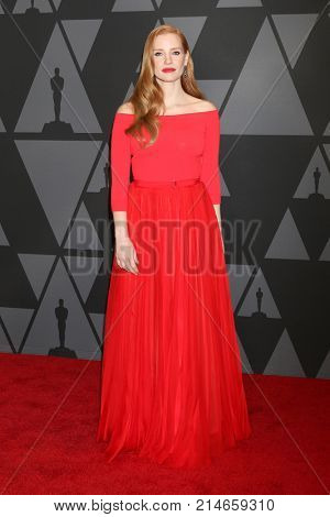 LOS ANGELES - NOV 11:  Jessica Chastain at the AMPAS 9th Annual Governors Awards at Dolby Ballroom on November 11, 2017 in Los Angeles, CA
