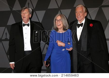 LOS ANGELES - NOV 11:  Carol Littleton, John Bailey, Donald Sutherland_ at the AMPAS 9th Annual Governors Awards at Dolby Ballroom on November 11, 2017 in Los Angeles, CA