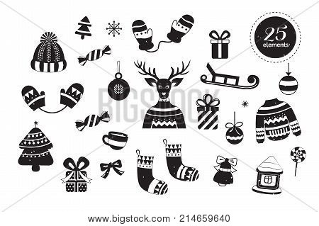 Merry Christmas collection of 25 vector elements: sweater, christmas ball, reindeer, christmas tree, snowflakes, sled, gift, mittens and others. Illustration Christmas celebration. Xmas background.