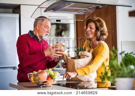 Senior couple preparing food in the kitchen. An old man and woman inside the house.