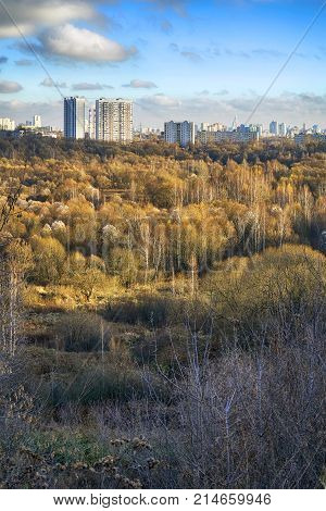 Autumn landscape on the outskirts of Moscow. District Tushino