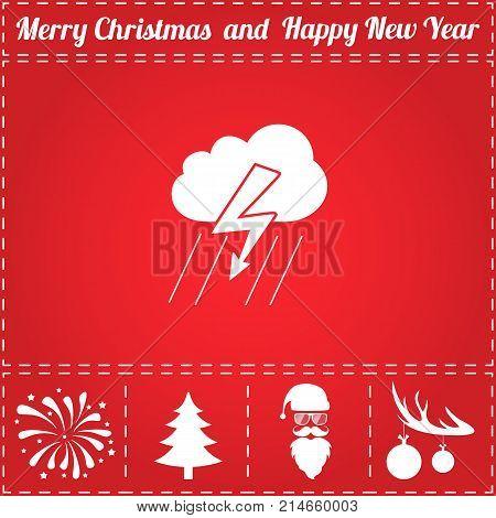 Thunderstorm Icon Vector. And bonus symbol for New Year - Santa Claus, Christmas Tree, Firework, Balls on deer antlers