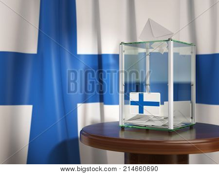 Ballot box with flag of Finland and voting papers. 	Finnish presidential or parliamentary election. 3d illustration