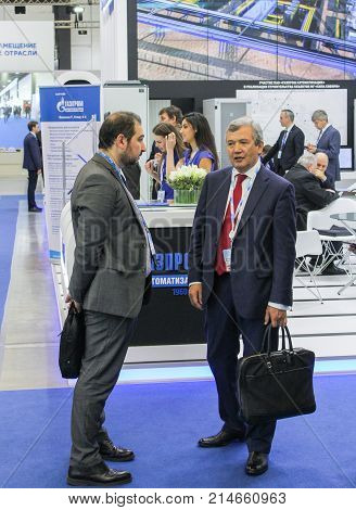 St. Petersburg, Russia - 3 October, People on the forum, 3 October, 2017. Participants and visitors of the annual St. Petersburg Gas Forum.