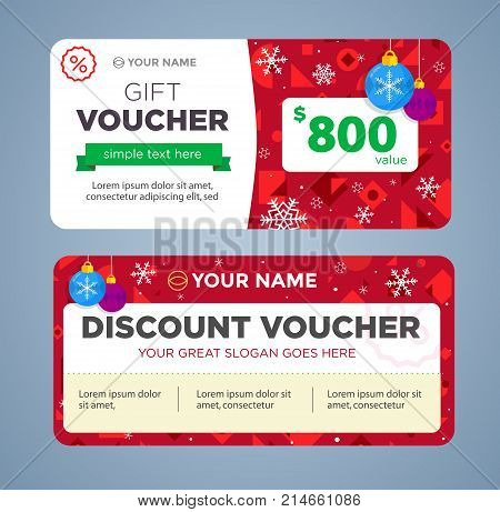 discount voucher template with colorful pattern, cute gift voucher certificate coupon design template, Collection gift certificate business card banner calling card poster, christmas, new year
