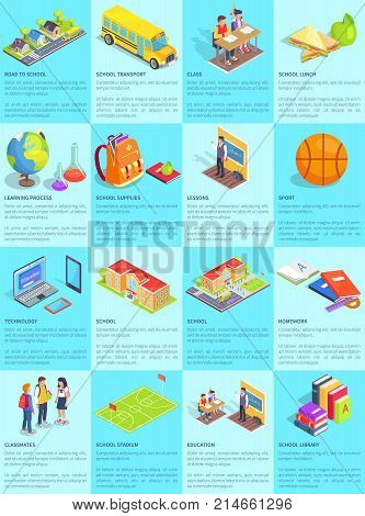 Collection of school-themed posters. Isolated vector illustration of educational institutions, teenage students and things they use on daily basis