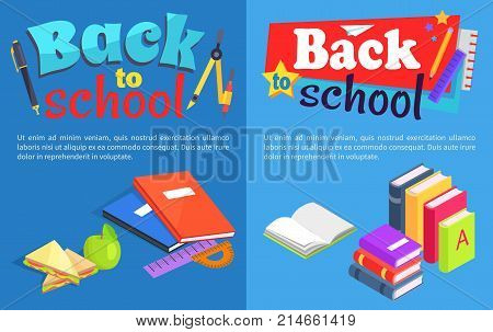 Back to school set of posters. Isolated vector illustration of stack of coursebooks, colourful notebooks, lunch meal and various stationery items