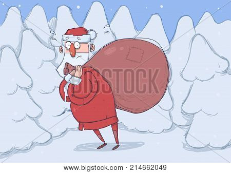 Funny confused Santa Claus with big bag of gifts in snowy spruce forest. Santa looks lost, embarrassed, bewildered. Horizontal vector illustration. Cartoon character.