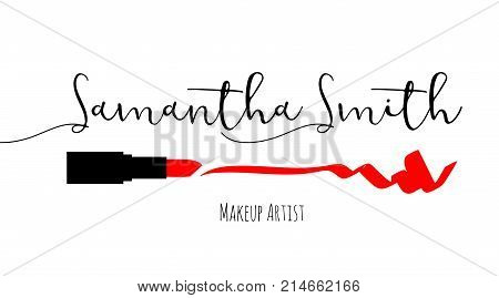 Makeup Artist Business Card. Vector Template With Makeup Items Pattern - Smears Red Lipstick. Fashio