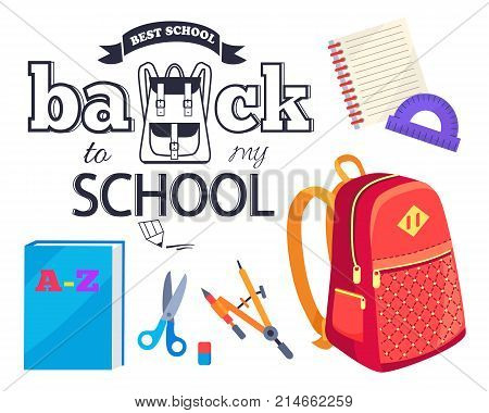 Back to my school black and white cartoon style sticker with inscription. Vector of backpack along with graphite pencil, brush with paints, red bag