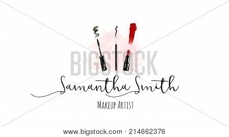 Makeup Artist Business Card. Vector Template With Make Up Items - Makeup Brush, Pencil, Eyeliner, Re
