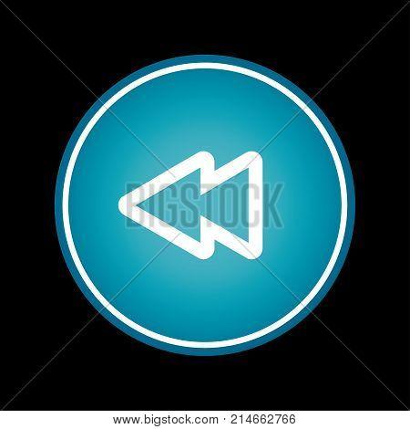 Rewind fast backwards button blue vector icon symbol. Black background