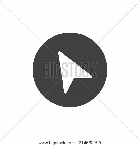 Navigation cursor icon vector, filled flat sign, solid pictogram isolated on white. Location pointer arrow symbol, logo illustration.