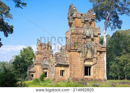 Siem Reap, Cambodia - Dec 11 2016: Prasat Suor Prat In Angkor Thom. A Famous Historical Site(unesco
