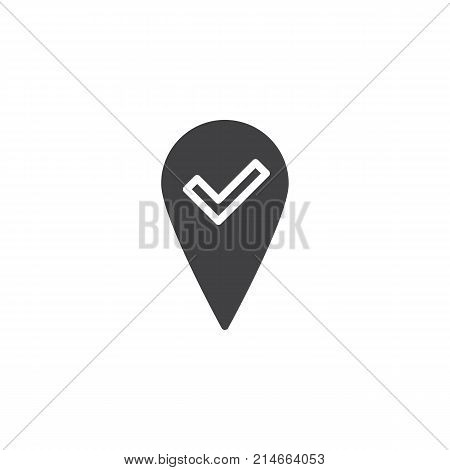 Check  map, pointer, navigator icon vector, filled flat sign, solid pictogram isolated on white. Location pin check symbol, logo illustration.