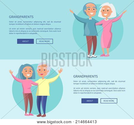 Grandparents posters with senior couples waving hands vector illustrations . Happy granny and grandpa cartoon characters in flat style
