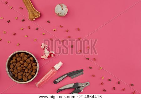 Accessories for the grooming of the dog on pink background. Combs and brushes for dogs. Top view. Still life. Copy space. Flat lay