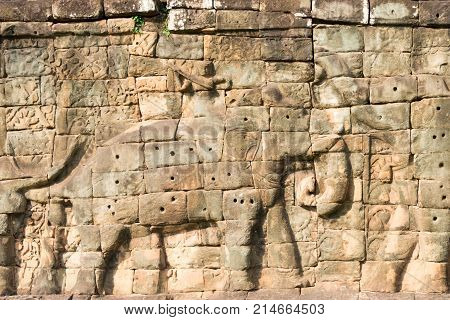 Siem Reap, Cambodia - Dec 10 2016: Relief At Terrace Of The Elephants In Angkor Thom. A Famous Histo