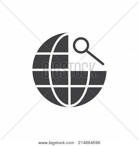 Global navigation icon vector, filled flat sign, solid pictogram isolated on white. Earth globe and magnifying glass symbol, logo illustration.