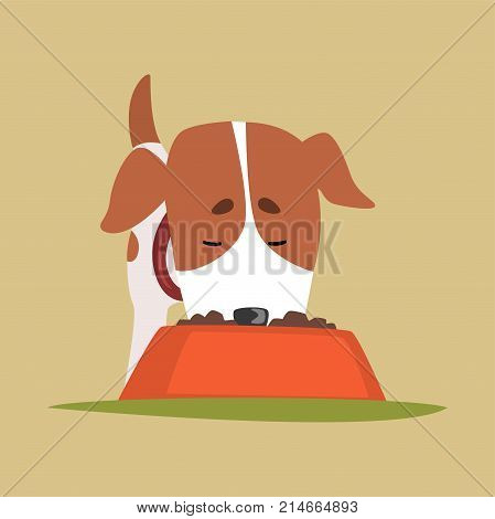 Jack russell puppy character eating dog food, cute funny terrier vector illustration on a beige background